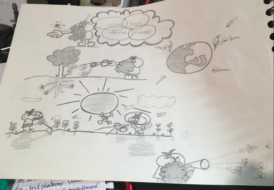 """Bocetos del cómic """"Nanotecnología y agricultura"""""""